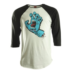 Santa Cruz Sreaming Hand Baseball T Shirt